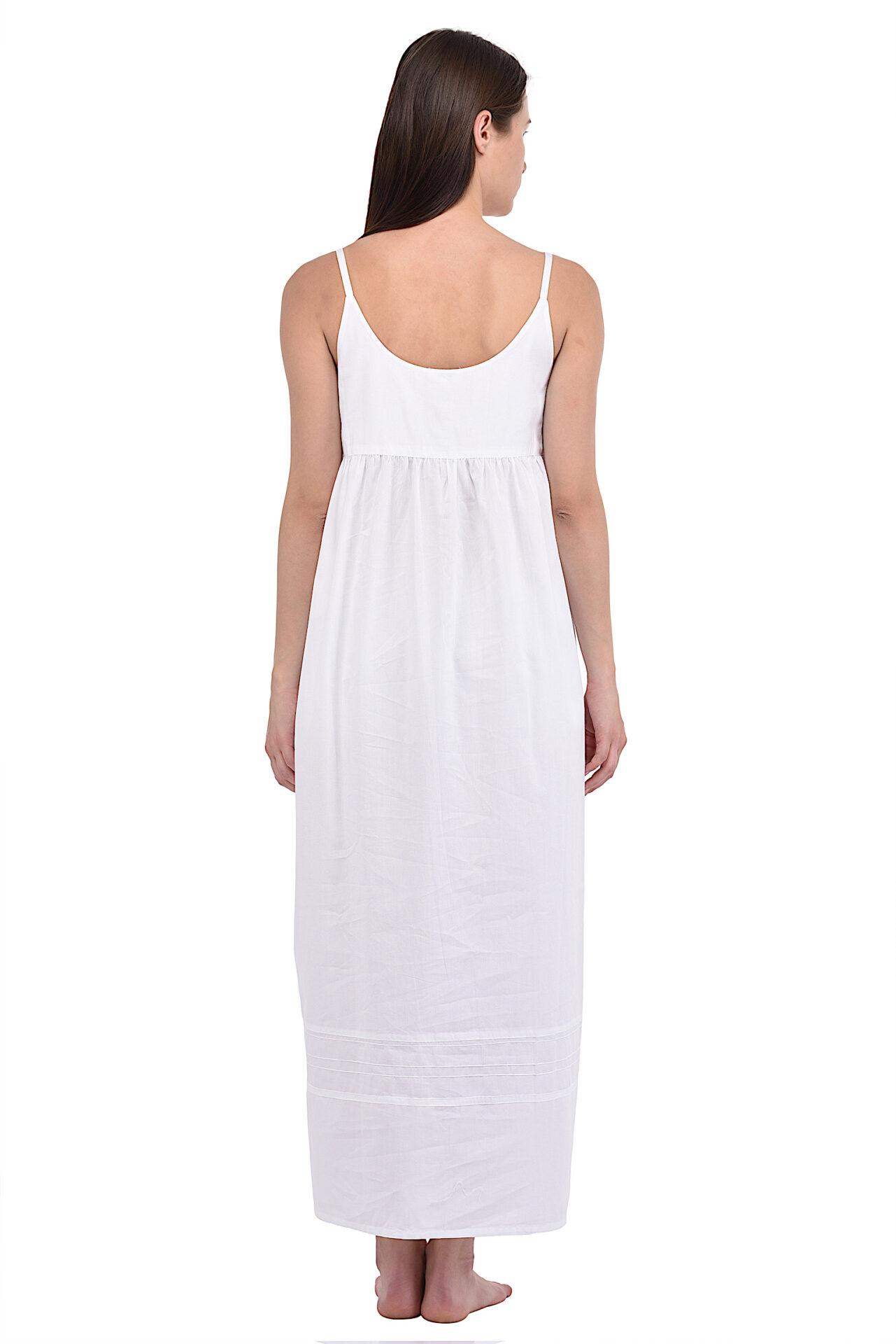 Plus Size Ladies Embroidered White Cotton NightdressCotton Lane