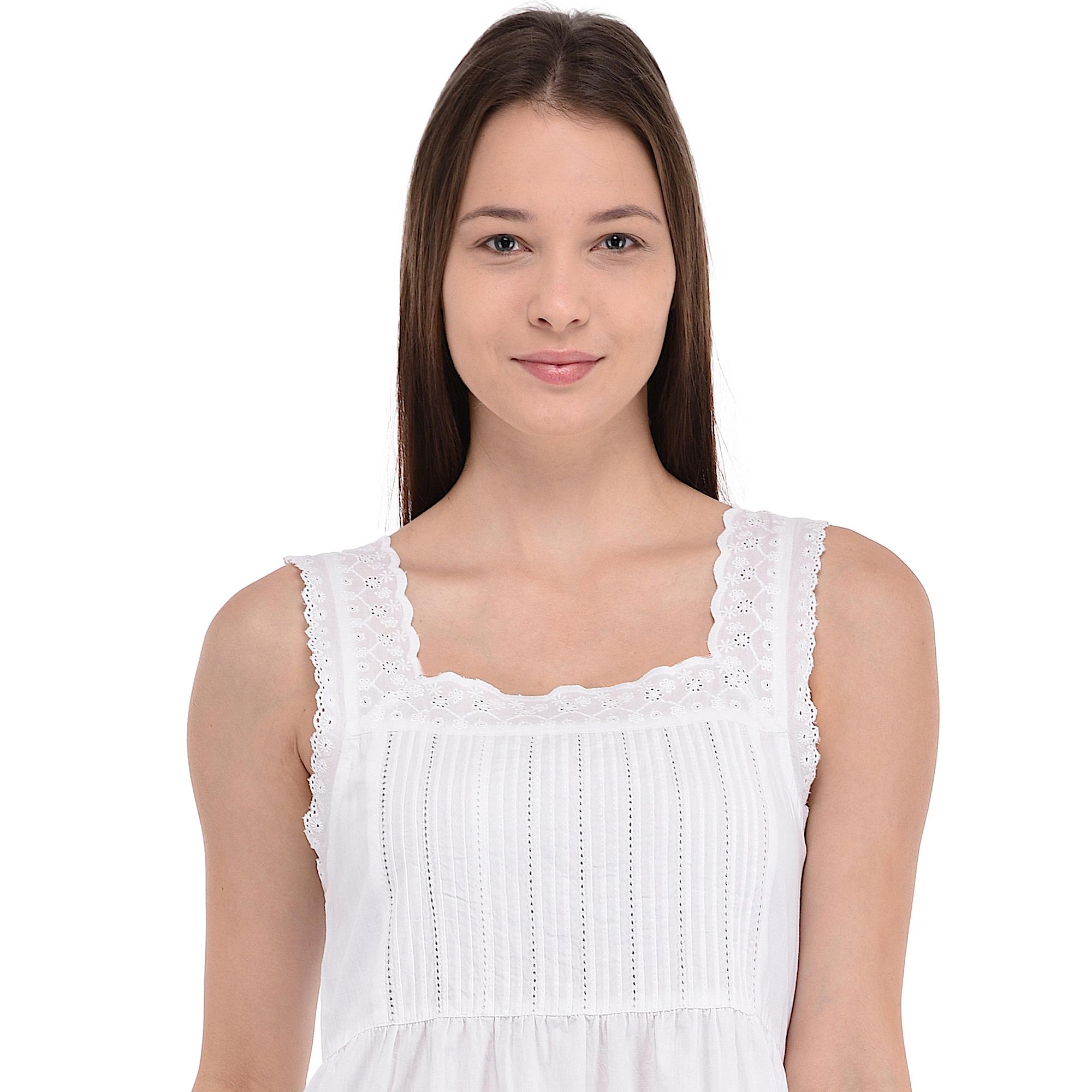 72cbd6d9f7 White Sleeveless Classic Nightdress