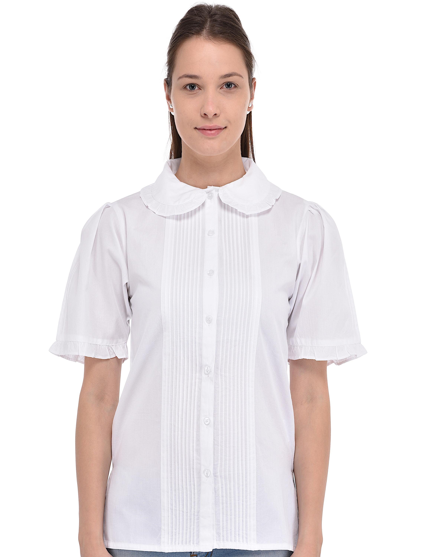 White cotton peter pan collar vintage reproduction blouse for White cotton shirt peter pan collar