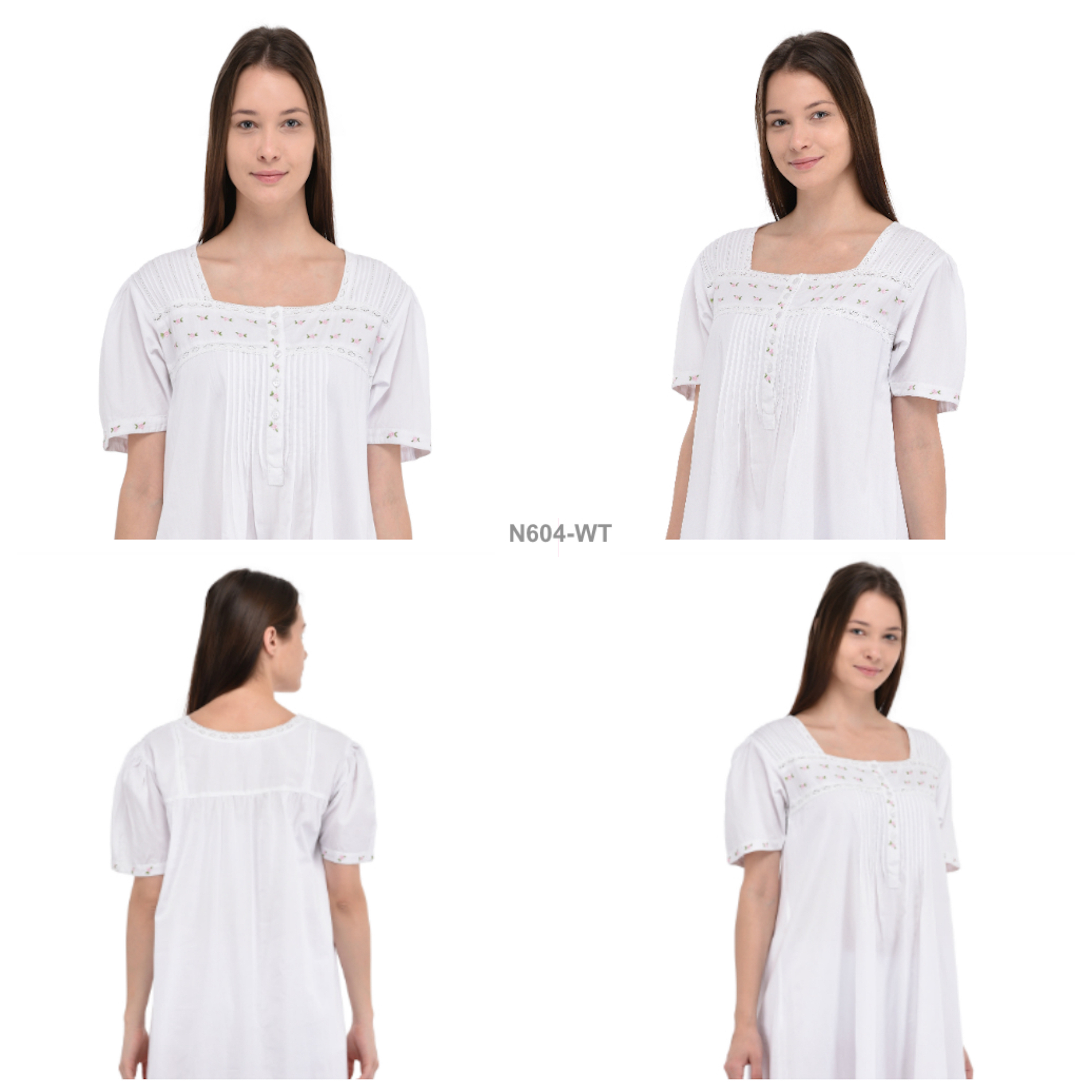 White Cotton Short Sleeve Embroidered Nightdress  03820bbec