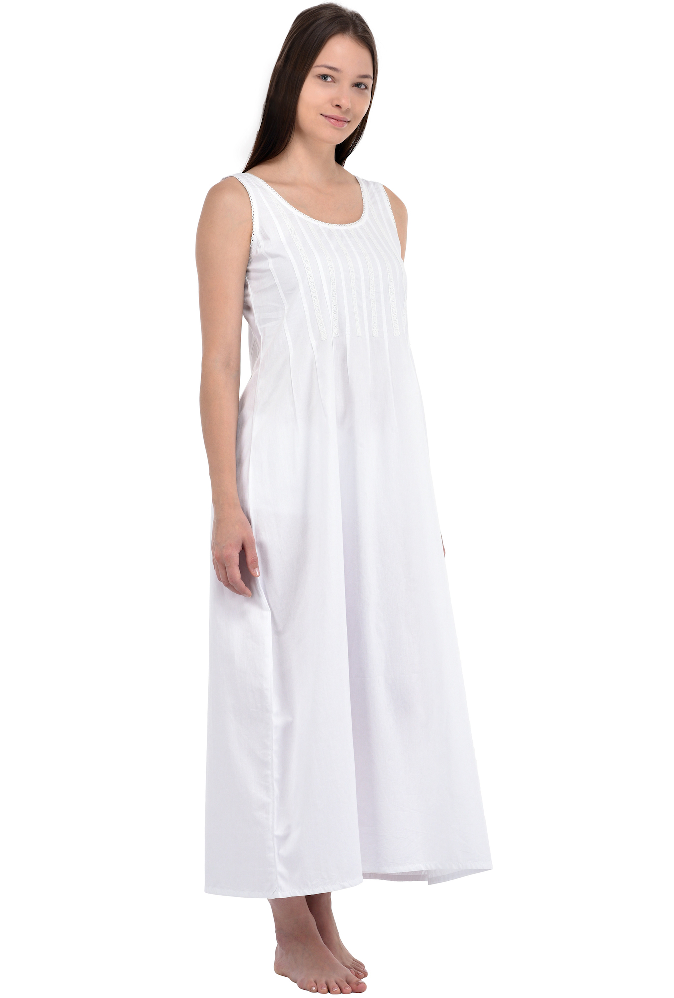 Cotton Lane White Cotton Vintage Reproduction Dress D39WT  ba78304ba