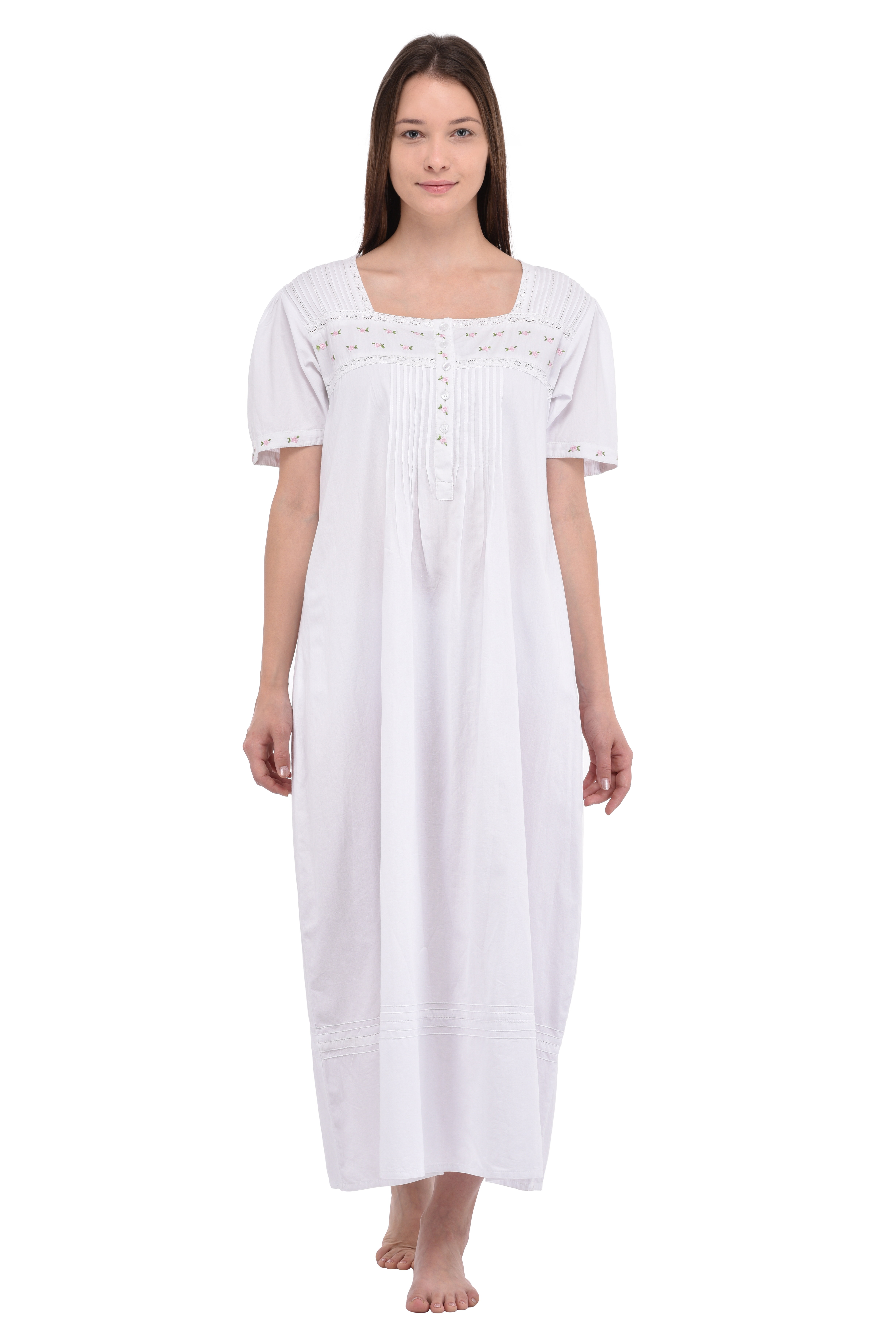 White Cotton Short Sleeve Embroidered Nightdress ... 9097c6284