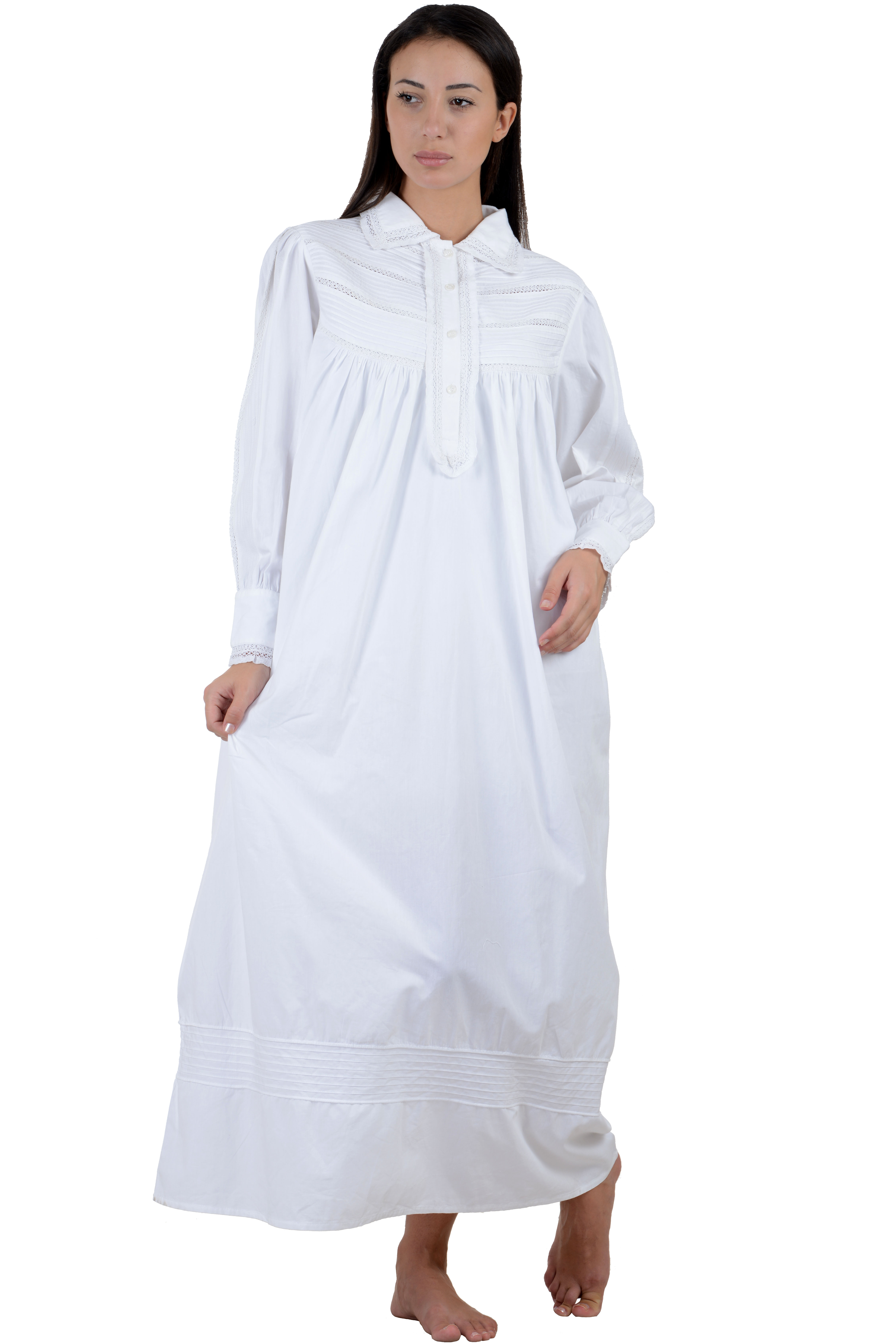db67ef0077 Victorian White Cotton Nightdress ...