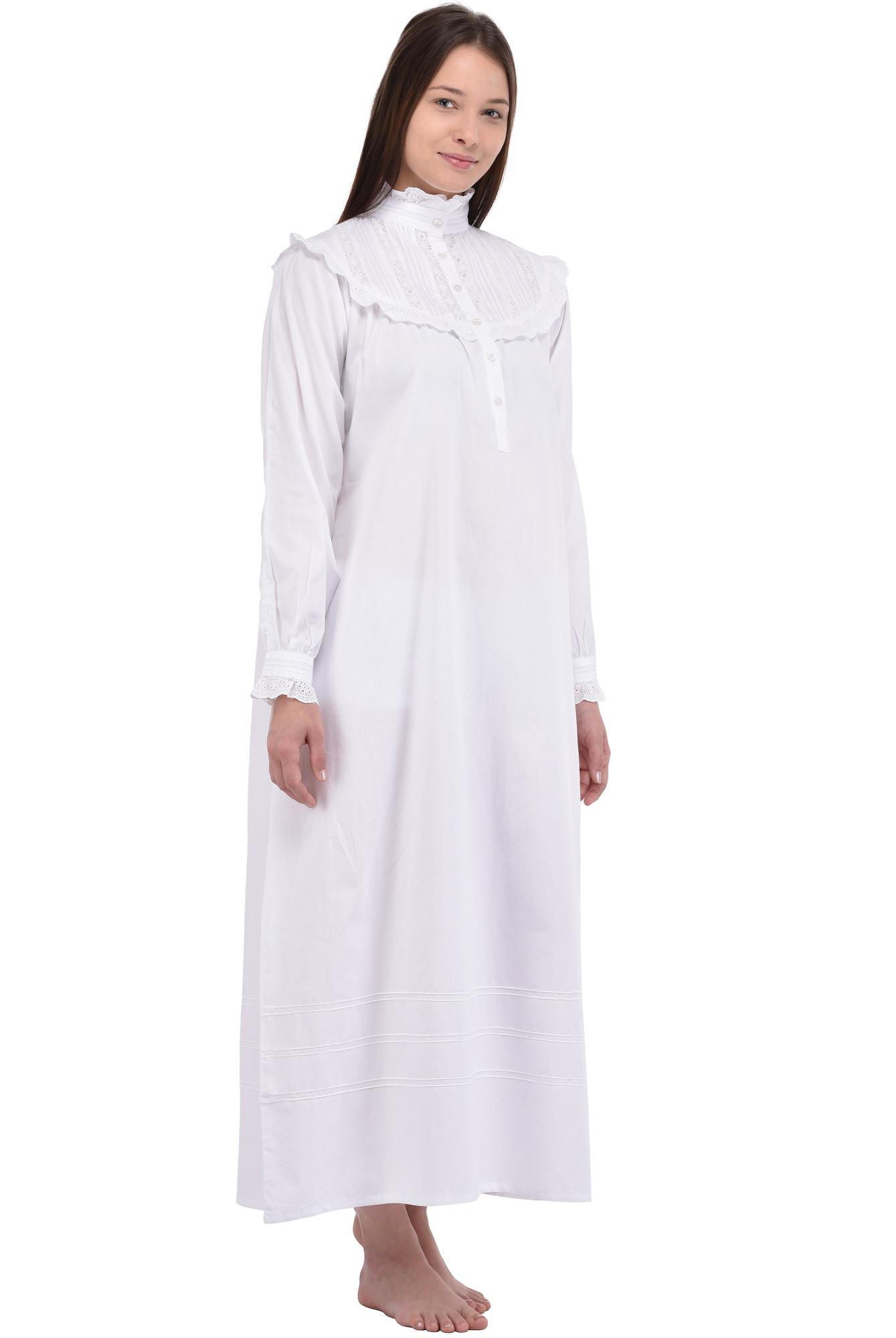 Old Fashioned White Cotton Night Dress | Cotton Lane | COTTON LANE