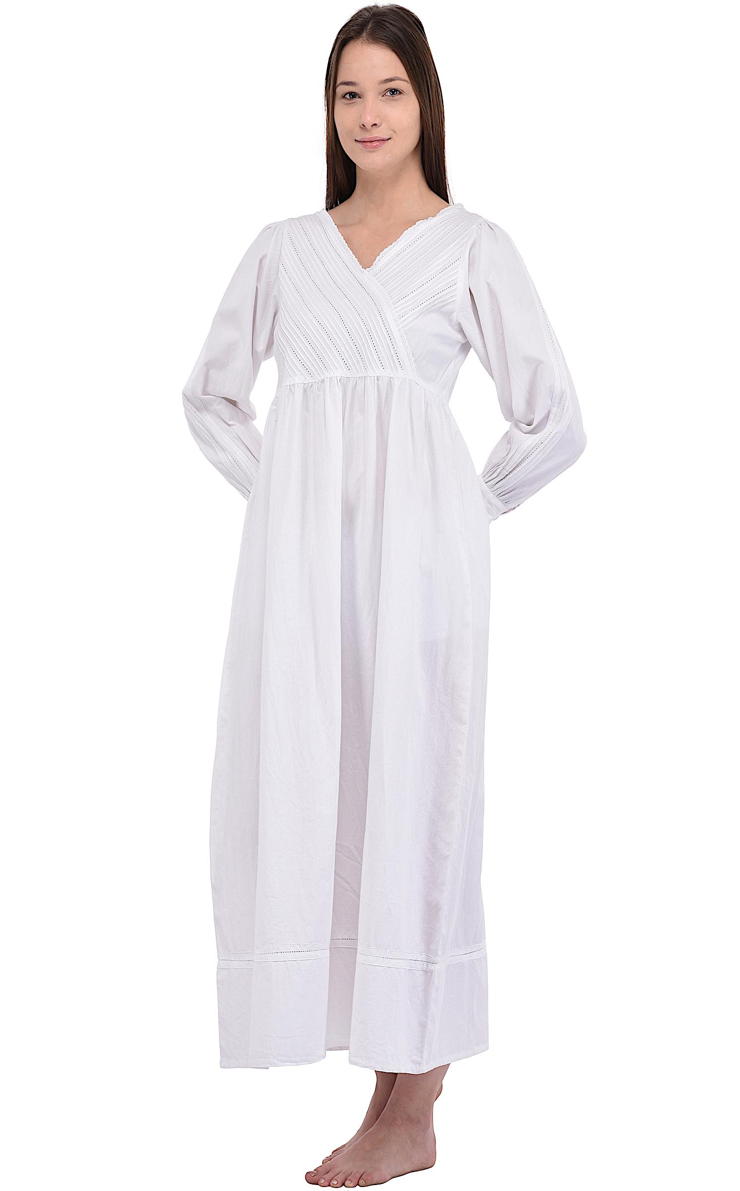 White Cotton Victorian Nightgown | Cotton Lane | COTTON LANE