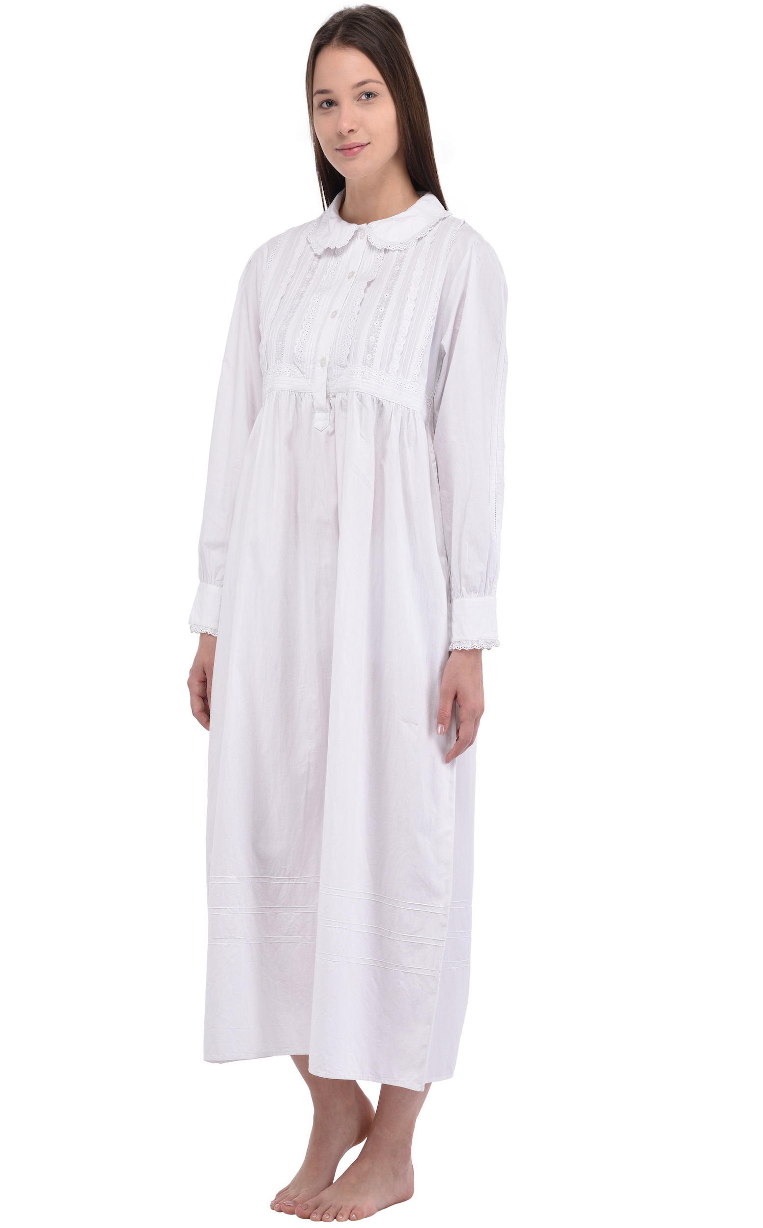3dcb4ec453 Peter Pan Collar Long Sleeve White Lace Nightdress | Cotton Lane ...