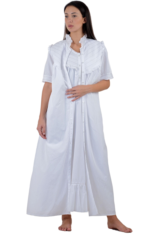 White Cotton Nightdress White Cotton Housecoat ... 0929ae1aa
