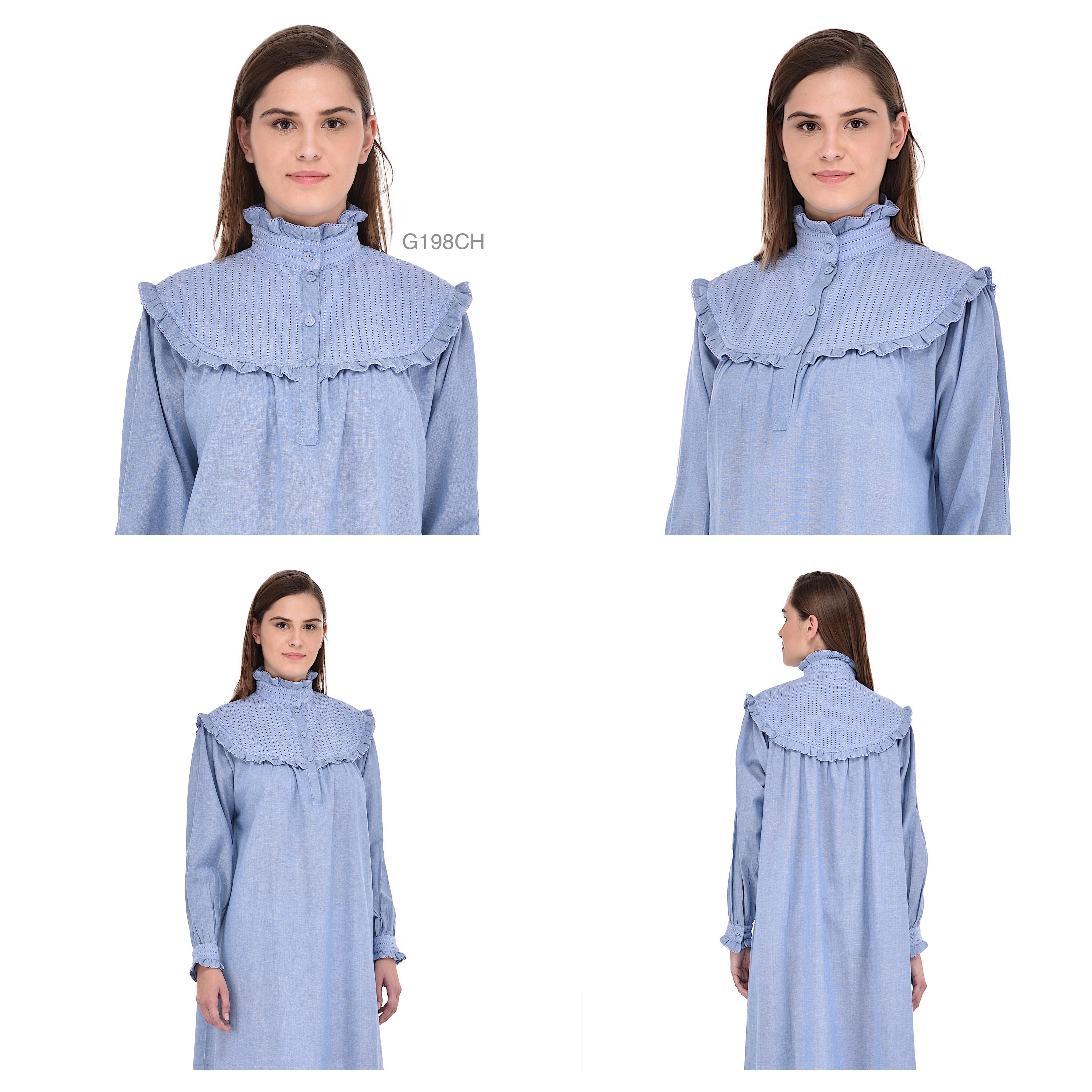 Blue Chambray Cotton Victorian NightgownCotton Lane