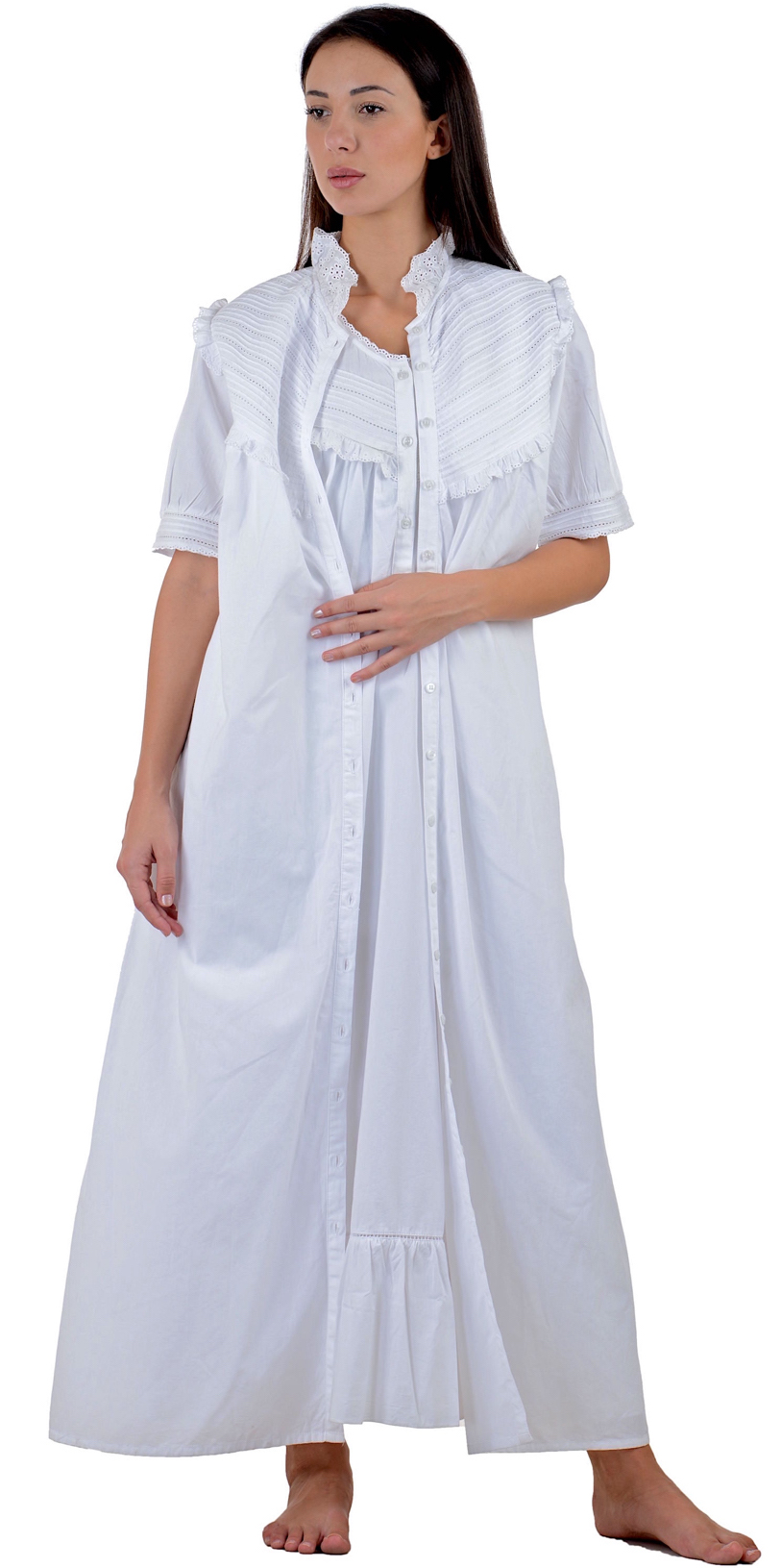 a8e85d7231 White Cotton Nightdress White Cotton Housecoat | Cotton Lane nightdress