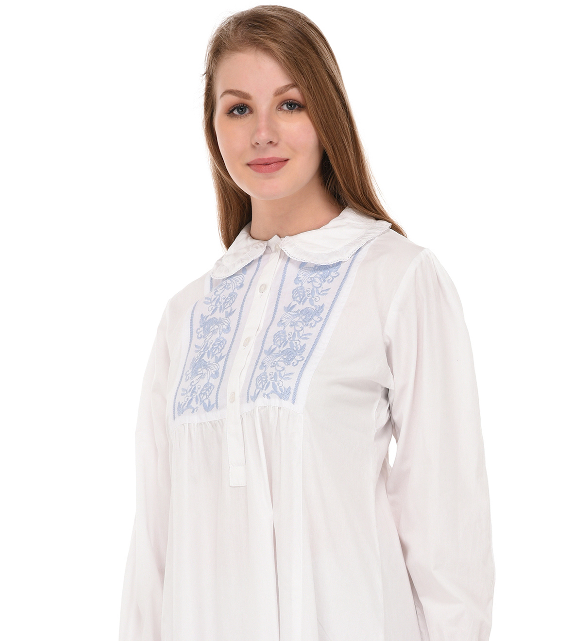 d431ea0869 Peter Pan Collar Long Sleeve White Long Nightdress | Cotton Lane ...